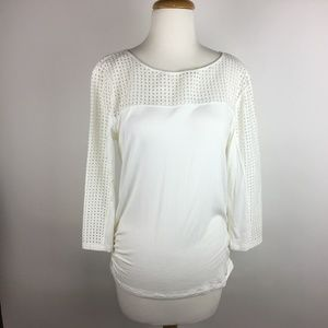 Calvin Klein Top Blouse White Eyelets Ruched sides